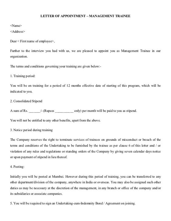 recommended format appointment letter for office assistant - indemnity letter template