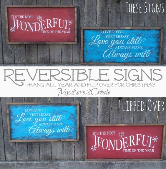 Keeping Christmas All The Year: MyLove2Create, Pottery Barn Knock Off And Reversible Signs