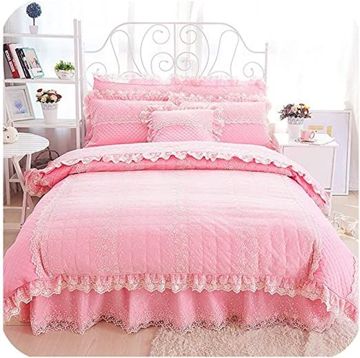 Purple Beige Lace Cotton Quilted Thick Bed Set Princess Girls Bedding Set Twin Queen King Size Duvet Cover Bed King Size Duvet Covers Girl Beds King Size Duvet