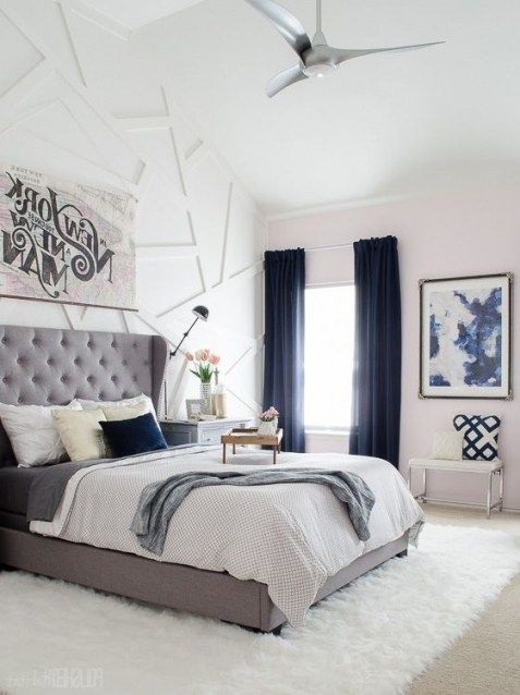 A Grey Tufted Fabric Headboard Pairs Perfectly With Leather Metals And Glass Accents Gray Upholstered Headboard Grey Headboard Fabric Headboard Bedroom