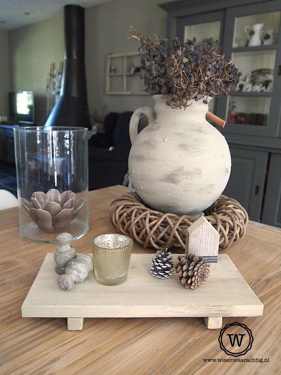 Dienblad steigerhout stoere woondecoratie in for Decoratie tafel landelijk