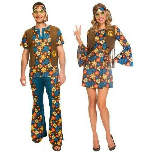 Hippy Flower Power Costume 1960/'s Groovy Hippie Women/'s Fancy Dress Costume