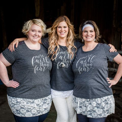 Our More Faith Than Fear tee is extremely soft with a beautiful script design. More Faith Than Fear is a motto of our Farmhouse Frock Team. The t-shirt also features a lace design on the back that adds a touch of elegance. This tee will...