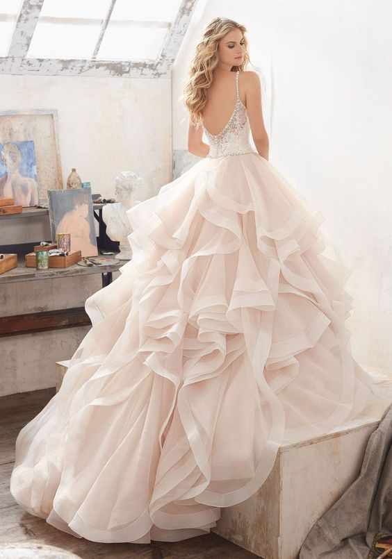 Mori Lee Marilyn 8127 Frosted Lace Ball Gown with Flounced Skirt Wedding Dress