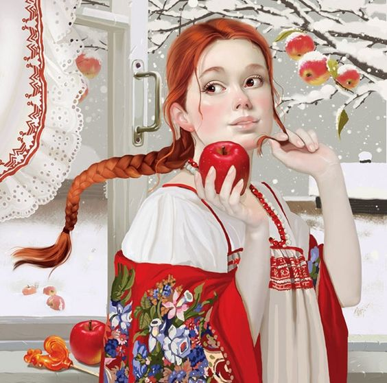 Russian winter beauty in a traditional long dress - sarafan. Updated by julvadi.com