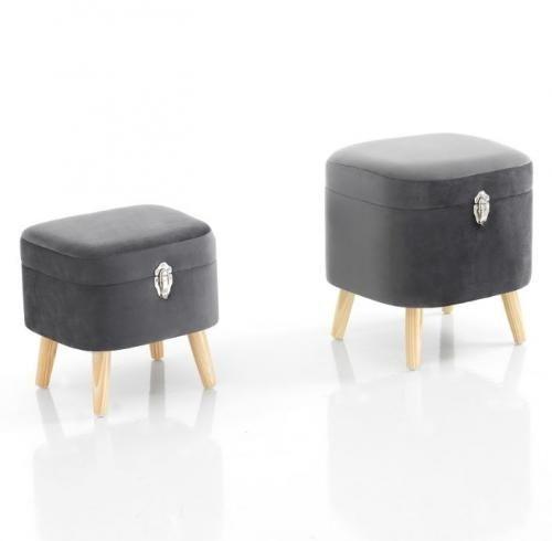 Set 2 Sgabelli Pouff Contenitore Suitcase Grey 3477 Pouffe Home Decor Furniture