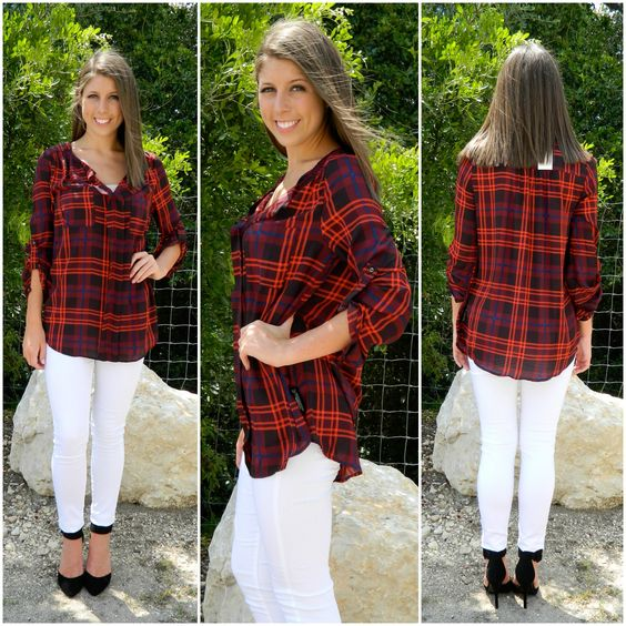 Love a little red plaid.  Apricot Lane Boutique - San Antonio, TX