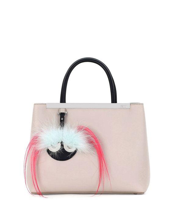 fendi 2jours petite monster mirror satchel bag nudeblack womens