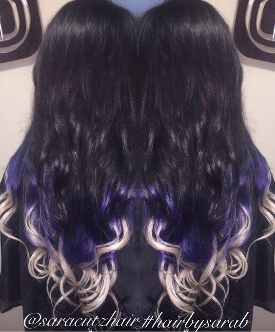 Tri ombré black hair purple hair blonde hair Colorado ombré nano link extensions