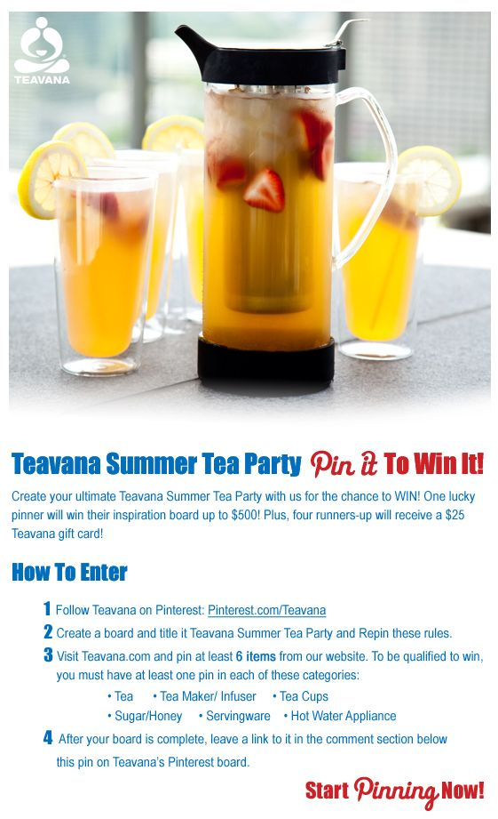 Create your ultimate Teavana Summer Tea Party with us for the chance to WIN! Ends 9/3/2012. Note: You must repin this entry rules pin to be qualified for entry. Click this pin for official rules.