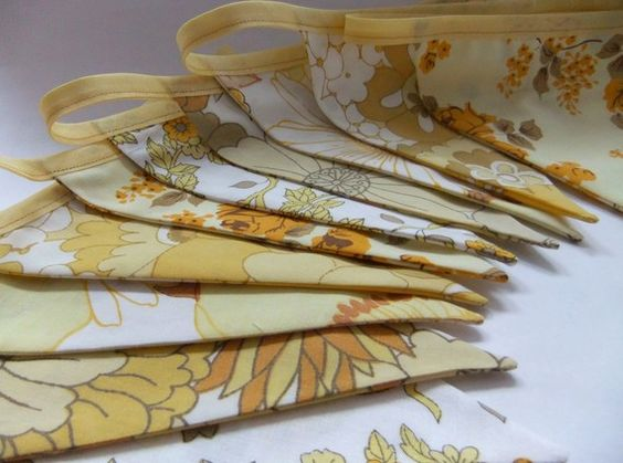 Vintage Fabric Party Bunting - LEMON DROP - 9 Feet Long PLUS ties, the most perfect decoration for your Wedding, Birthday or Baby Shower