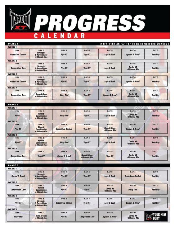 tapout+xt+workout+schedule | tapout Xt Workout Calendar