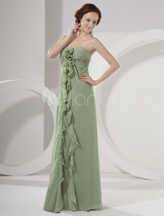 Robe demoiselle d'honneur fille en vert pâle