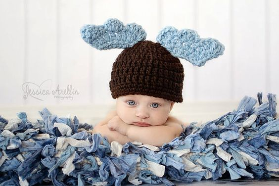 WHIMSICLE Winter Brown MOOSE Beanie Hat Blue Antlers by thebabypea, $13.50