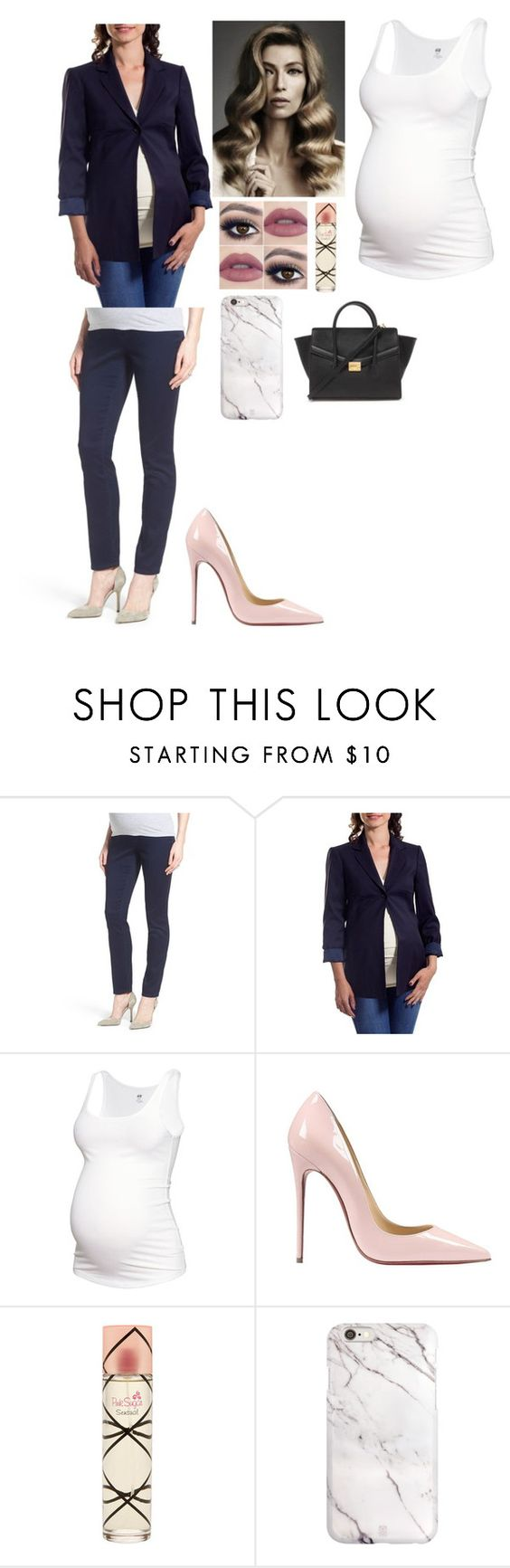 """""""Classy maternity look"""" by dallaslover22 ❤ liked on Polyvore featuring 1822 Denim, Eva Alexander, H&M, Christian Louboutin, Aquolina, Forever 21, women's clothing, women's fashion, women and female"""