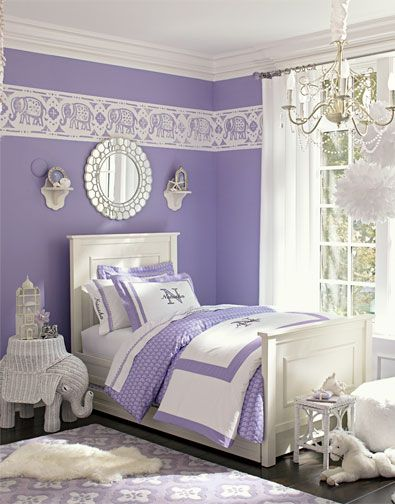 Lavender/purple and white girl room from pottery barn. love this shade of purple against the white furniture: