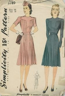 An original ca. 1941 Simplicity Pattern 3789.  Misses and Women's Dress: A mother and daughter fashion. For Child's Dress see Simplicity 3790. This dress is also suitable for maternity wear. Style 1: The back and front yoke effect, smartly closed on each shoulder with buttons are jointed to pleated bodice section. The skirt also pleated joins the bodice at the waistline under a belt. The shoulder openings of style II are secured with slide fasteners. Sleeves bay be long or short.