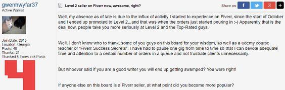 Level 2 seller on Fiverr now
