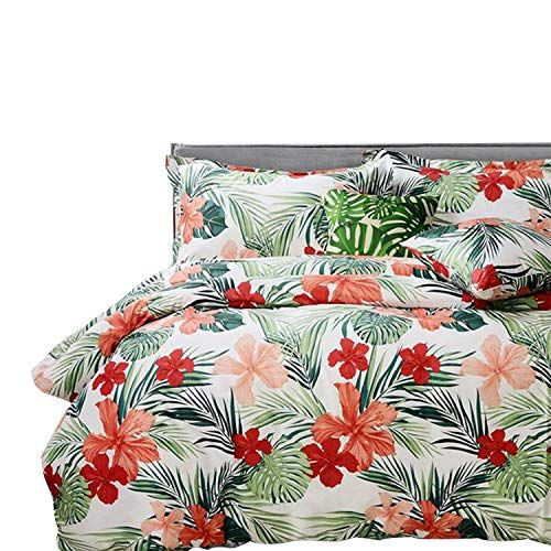 Fadfay Tropical Bedding Set Hawaiian Style Red Hibiscus Palm Leaves Duvet Cover Set Super Soft 100 Tropical Duvet Cover Tropical Bedding Sets Duvet Cover Sets