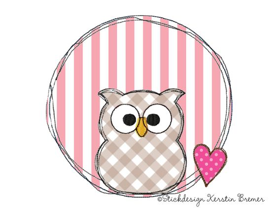 Eulen Doodle Stickmuster für eine Stickmaschine von KerstinBremer.de ♥ Owl doodle appliqué embroidery for embroidery machines. Freehand machine embroidery style.