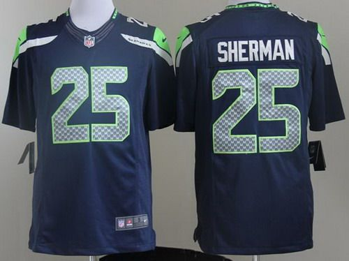 ... Sale Nike Seattle Seahawks 25 Richard Sherman Blue LIMITED NFL Jerseys  Brand Fashion ... 25 Richard Sherman Steel Blue Team Color Mens Embroidered  ... 8f1467856