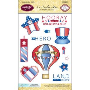 "Justrite Papercraft > JustRite Papercraft Clear Stamp Set 4""X6""-Let Freedom Ring 12pc: A Cherry On Top"