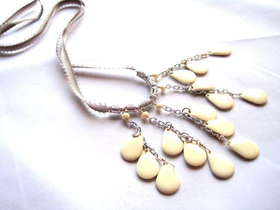 White enameled teardrops on bib style necklace with hand dyed silk ribbon ties by JMarieOfAtlanta, $30.00