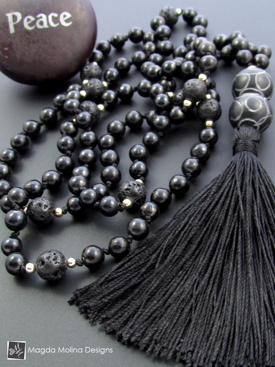 The Shungite, Lava Stone And Carved Black Jade Omnisex MALA Necklace With Silk Tassel