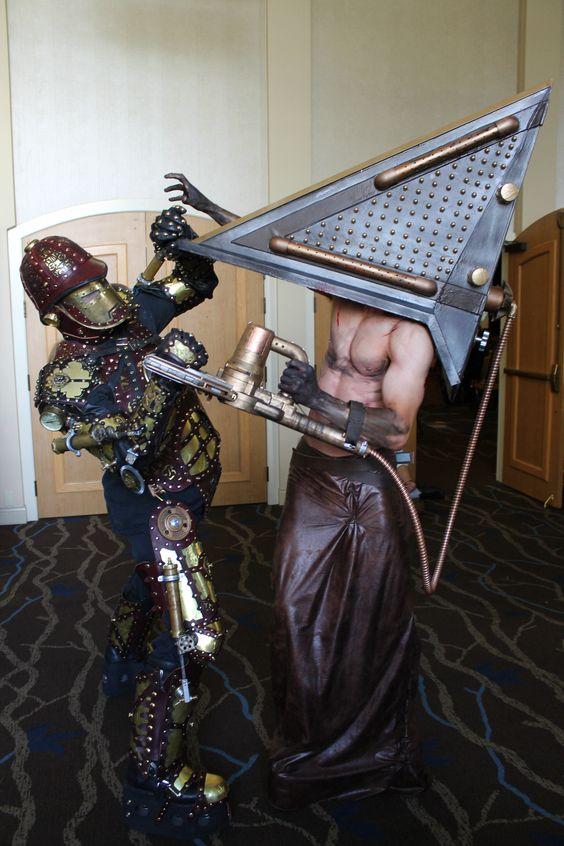Steampunk Iron Man Vs Steampunk Pyramid Head! At Salt City Steamfest 2014!
