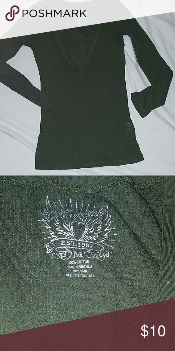 AEROPOSTALE Hunter green very low front top can layer over another top Aeropostale Sweaters V-Necks