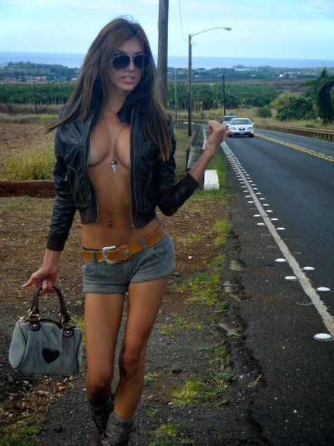 Image result for hot chick  hitch hiking