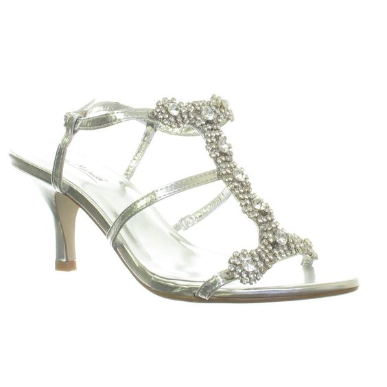 Details about WOMENS SILVER DIAMANTE LOW MID HEEL WEDDING BRIDAL