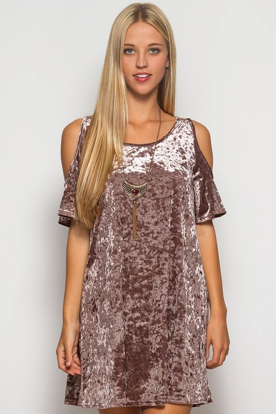 OH MY!!!! Its Back!!!! Soft velvet dress with cold shoulder fully lined with light fabric to keep you cool yet a velvet look for a sexy look: