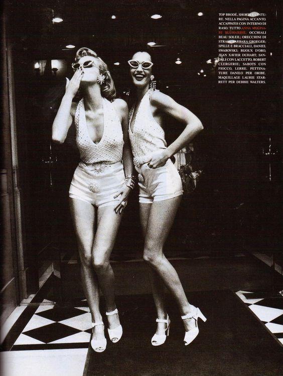 Eva Herzigova & Karen Mulder | Photography by Ellen von Unwerth | For Vogue Magazine Italy | February 1992