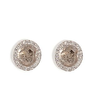 With an exquisite mix of white gold, micro pave diamonds and a stunning diamond slices, LA jewelry maven, Susan Foster's shimmering stud earrings lend radiant polish to any ensemble #Stylebop