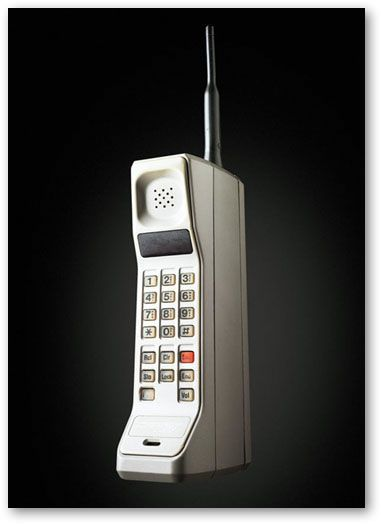 Motorola DynaTAC 8000X. This was the first handheld mobile phone. Of course, the average person couldn't afford the hefty price of a mobile phone back then (almost $4000) so it was really only for a limited group of people. Sales of the phone were also limited by the fact that the battery would only last one hour and would then need to charge for ten hours before it could be used again.