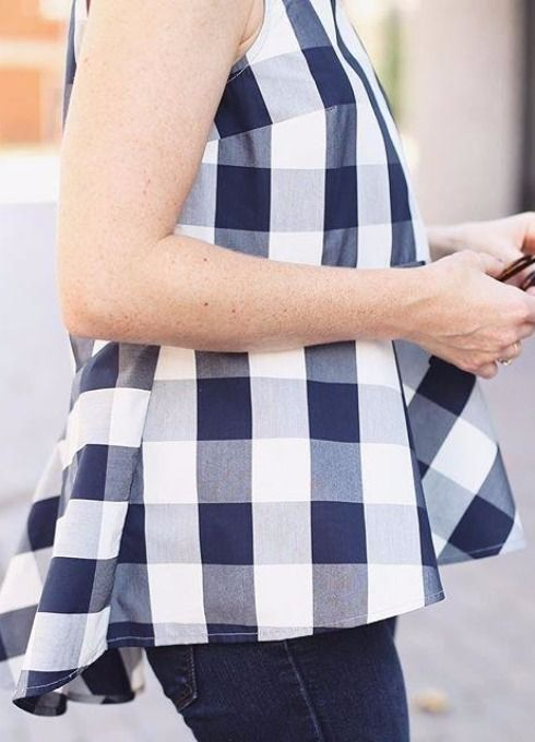 Checked Poplin Peplum Top:
