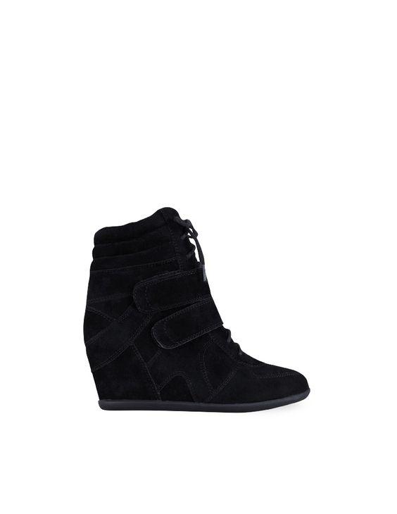 Producto: sneakers cuña interior cordones en negro {Blanco}