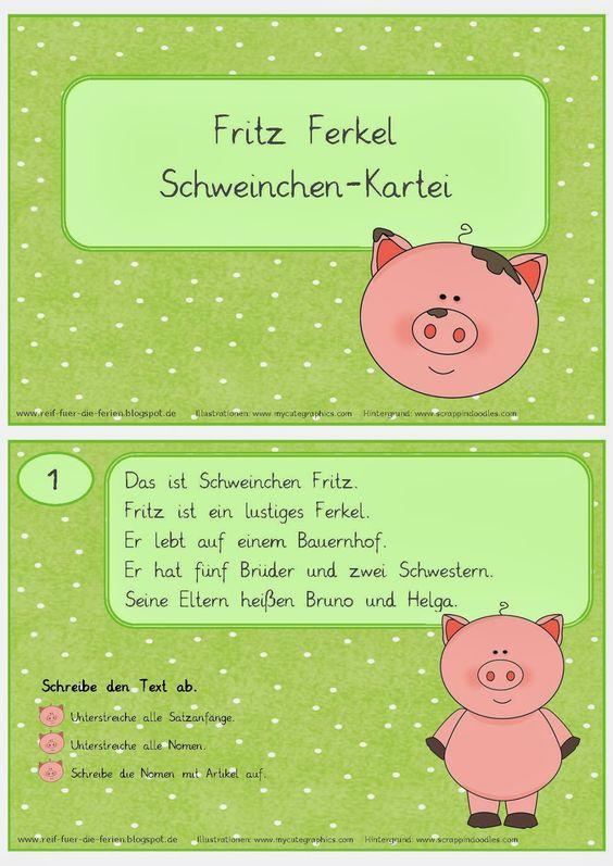 Reif für die Ferien: Abschreib-Kartei Schweinchen