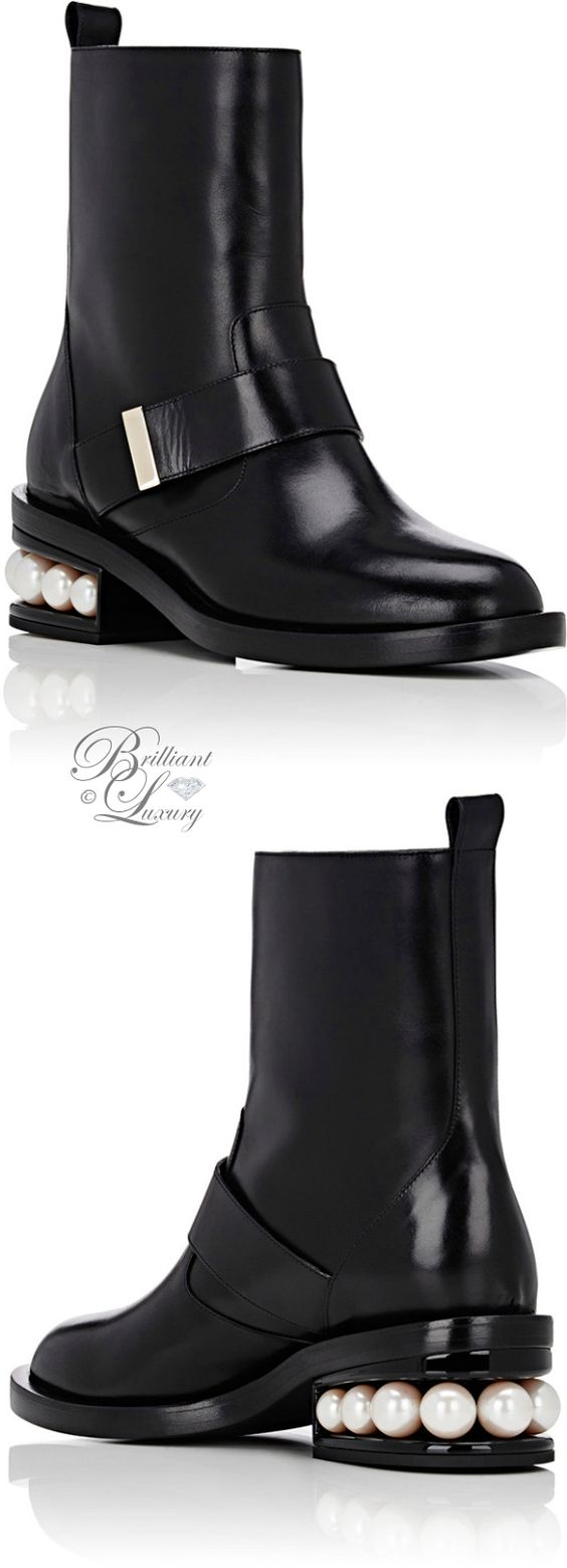 Brilliant Luxury by Emmy DE ♦Nicholas Kirkwood Pearl-Inset Moto Boots