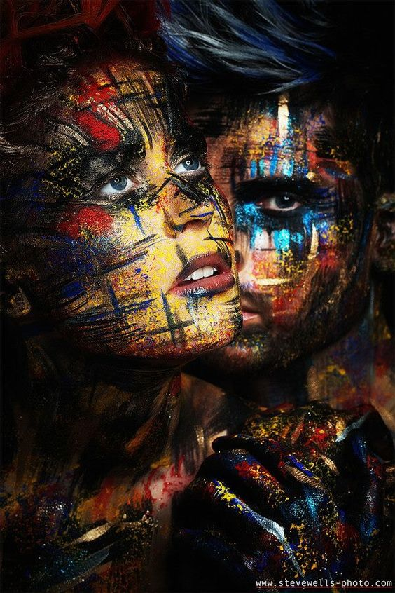 Couple with faces with abstract design