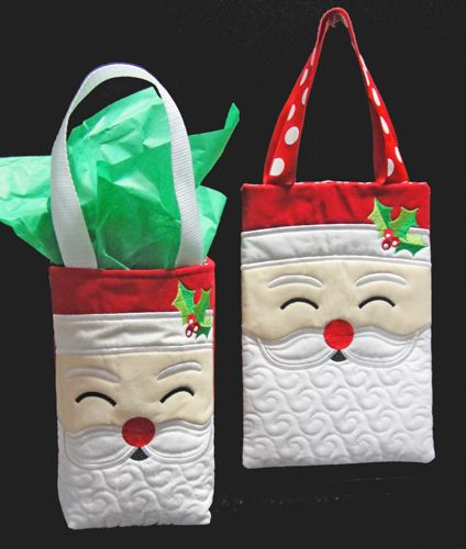 Santa tote or gift bag embroidery article christmas