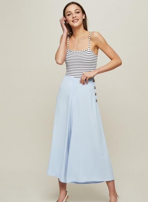 Blue Button Side Wide Leg Trousers