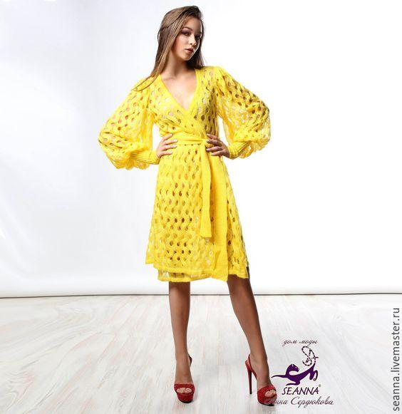 """Купить Платье-пальто вязаное """"Солнечно-желтое"""" из итальянского мохера - желтый, платье, платье вязаное"""