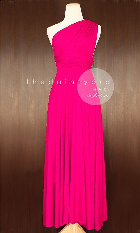 MAXI Fuchsia Bridesmaid Convertible Infinity Multiway Wrap Dress Hot pink Full Length on Etsy, $48.00