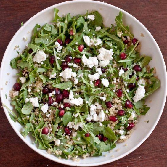 quinoa salad with arugula, goat cheese, avocado, and pine nuts @www.domesticfits.com