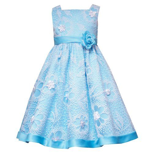 Discount Rare Editions LITTLE GIRLS 4-6X LIGHT-BLUE WHITE FLOCKED ...