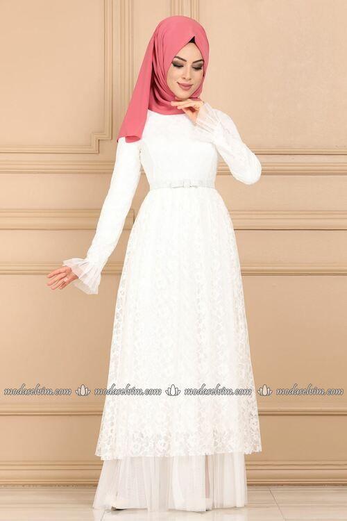 Modaselvim Elbise Fiyonk Kemerli Dantel Elbise 5189ay342 Ekru Dresses With Sleeves Long Sleeve Dress Fashion