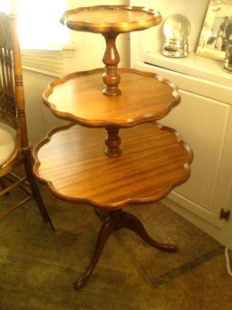Pie crust tiered table vintage and antique