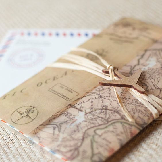 Destination wedding invite-cute idea and it has the plane detail you liked!